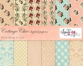 Shabby vintage digital papers featuring vintage damask and shabby rose patterns, vintage scrapbook paper, cottage chic decor P126