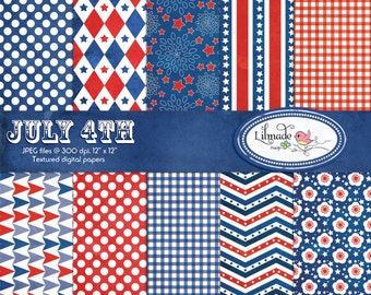 July 4th textured digital papers, Independence Day scrapbook paper, Americana digital papers, commercial use, P168