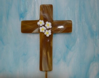 Cross Plant Stake, Fused Glass, Easter Gift, Sympathy Gift, Bereavement Gift, Loss of Pet, White Flowers