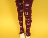 Deep Red Thigh High Socks for MSD SD Ball Jointed Doll