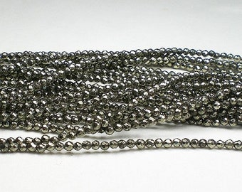Tiny 2mm Pyrite Round Faceted Beads 80 pcs. 2mmP