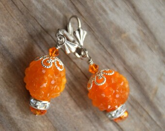 Dangle earrings, Orange Ice,  # 30   Candy Collection
