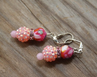 Dangle earrings, Pink-resin-MOP bead, jade stone # 10  Candy Collection