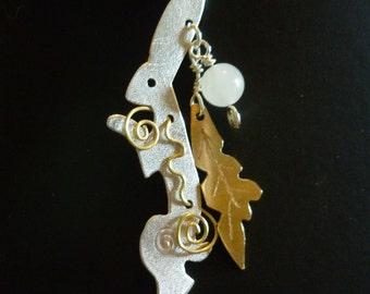 Spring Hare Pendant, Squarehare, UK, Vegan, Free Postage, Silver,