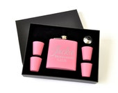 Personalized Flask Set with Shot Glasses Pink Great for Bridal Party Bridesmaid Gift