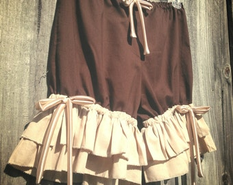 Brown or Black bloomers with double wide tan ruffles