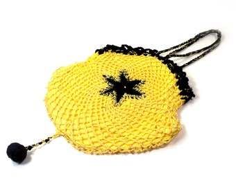 Antique 1920s Crochet Purse Vintage Black and Yellow Lined Bag