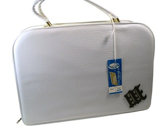 Vintage 1960's white Go-Go Handbag mod Box Purse By Tolin Never Used Tags Attached