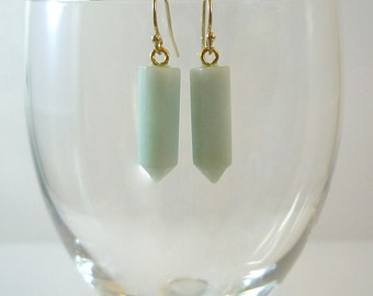 Amazonite Earrings Gemstone Earrings Pale Blue Amazonite Earrings Amazonite Gold Drop Earrings Amazonite Gemstone Earrings