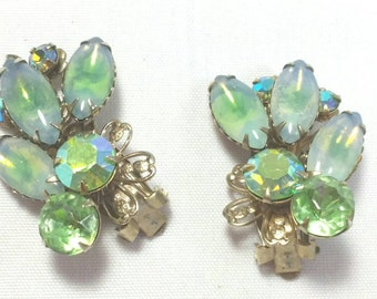 Beautiful Green German Glass Clip Earrings Unsigned