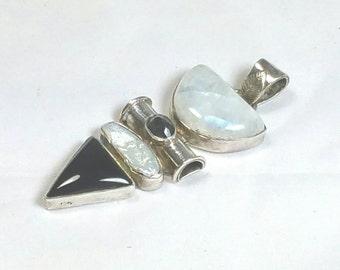 Moonstone Onyx Sterling Pendant