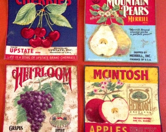 4 Vintage Fruit Labels Ads No Sew Iron On Appliques Cotton Patches Retro