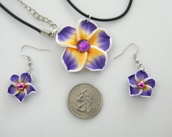 POLYMER CLAY FLOWER sets earrings necklace pendant fused dichroic glass (SYB22)