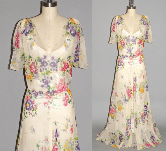 1930s Floral Chiffon Dress Vintage 30s Sheer Dress Old