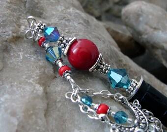 Red Coral Hair Stick with Swarovski Indicolite Aqua Crystal Chandelier Dangle Geisha Hair Accessory - Atia