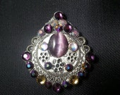 Persephone Bindi, re-useable bellydance / festival forehead gem, silver and purple
