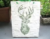 Shabby chic mosaic stag plaque