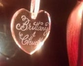 Heart Ornament, Glass, Crystal, Hand Engraved Personalized