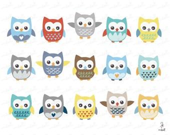 50% OFF SALE Cute Owl Clip art Set 4 - 15 Digital Owl Clipart Set for Scrapbooking, Photo, Card, Invitation