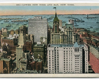 Lower New York Skyscrapers and Bay New York City 1930s postcard
