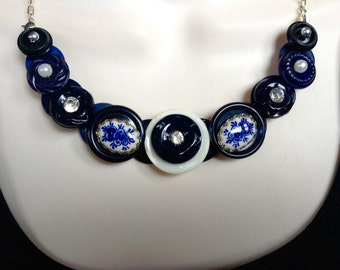 Blue and white button necklace
