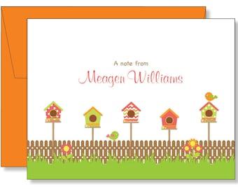 Custom Fun Little Bird House Note Cards