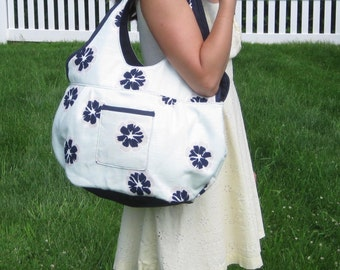 Large Tote Bag. Large Beach Bag. Large Book Bag. Large Shoulder Bag in Light Mint Green with Navy Blue Flowers