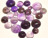 Natural Amethyst Round Cabochons - 25 pcs Parcel - 5.8-12.3 mm - 70.1 ct - 150524-02
