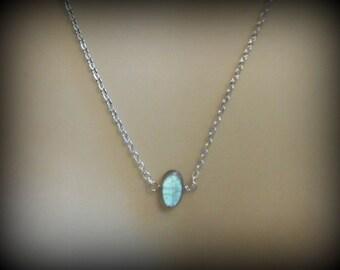 Labradorite Necklace Pendant Simple Solitaire Silver Necklace Bridesmaid Gift