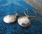 Oxidized Pyrite Stone Sterling Hoop Earrings Silver Pyrite Dangle Protection Stone Gemstone Drops Statement Earrings
