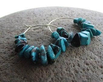 Natural Turquoise Stone Chip Sterling Silver 1 inch Hoop Earrings Teal Aqua Green Gemstone Hoop Earrings