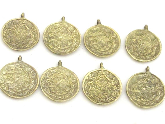 6 Pendants - Small size Tibetan Om and calendar  timeline wheel Solid Brass charm pendant - CP019s
