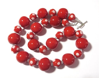 Ceramic Jewelry, Kazuri Bead Necklace in Red and White