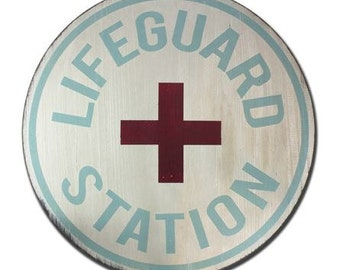 Lifeguard Station - Hand Painted Vintage Inspired Round Painted Wooden Sign Life Guard