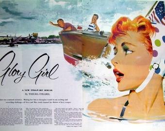 Artist Illustration  Color Print Beach Scene,  Scene Illustrated by Milton Wolsky, Magazine Pages 1953, Vintage Art  Print, Magazine Art