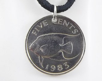 Fish Coin Necklace, Bermuda 5 Cents, Coin Pendant, Fish Necklace, Leather Cord, Mens Necklace, Womens Necklace, 1983