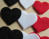 Glitter Felt Die Cut Hearts-Black-White-Red Glitter Hearts-Wedding-Anniversary Decorations- Costume Appliques-Glitz Party Decor