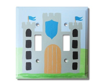 Double Switch Plate - Custom Hand Painted Children's Wooden Light Switch or Electrical Cover Plate Castle Theme