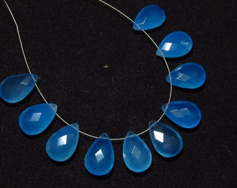 NEW / Arrival - 5 Matched Pair - Blue CHALCEDONY  - 10x15 mm Long Gorgeous Sky Blue  Colour Faceted Sparkle