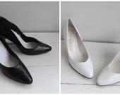 Vintage 80s Shoes Halston Black White Retro Heels Pumps Classic 5 1/2 B