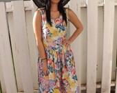 80s Floral Dress White Print Sun India Cotton Sleeveless Summer Vintage L