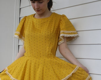 Yellow Square Dancing Dress Country Floral Print Full Skirt L XL
