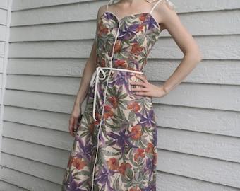 Eber Sun Dress Floral Print Summer Tropical Vintage 70s 1970s XS