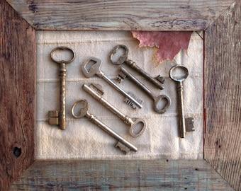 sale - large old keys - genuine vintage keys - 7 vintage skeleton keys (P-29b).