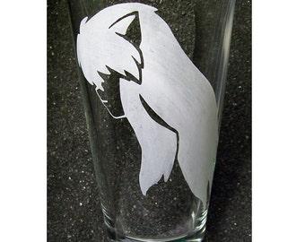 InuYasha etched pint glass tumbler