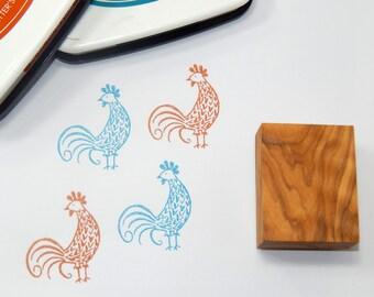 Handsome Rooster Olive Wood Stamp
