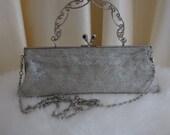 Vintage Silver Glass Beaded Evening Purse Bag Handbag Shoulder Bag