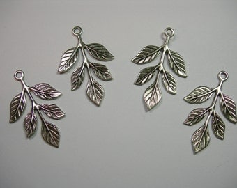 Silver Plated Victorian Filigree Earring Leaf Leaves Drop Stamping Pendant