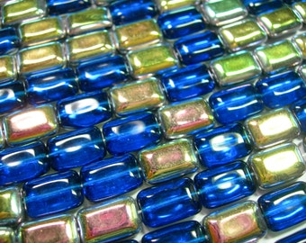 Czech Glass Capri Blue Vitrail Rectangles 8x12mm - 24 beads