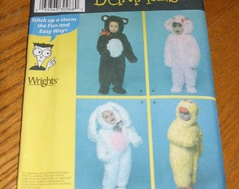 Simplicity Costume Pattern - SImplicity 3596 - Size A .5 - 4 - new - bear, poodle, duck, bunny onesie